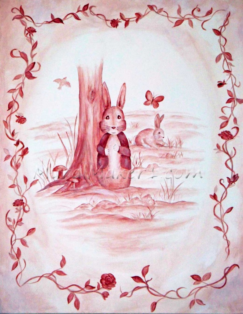 Pink Toile Bunny