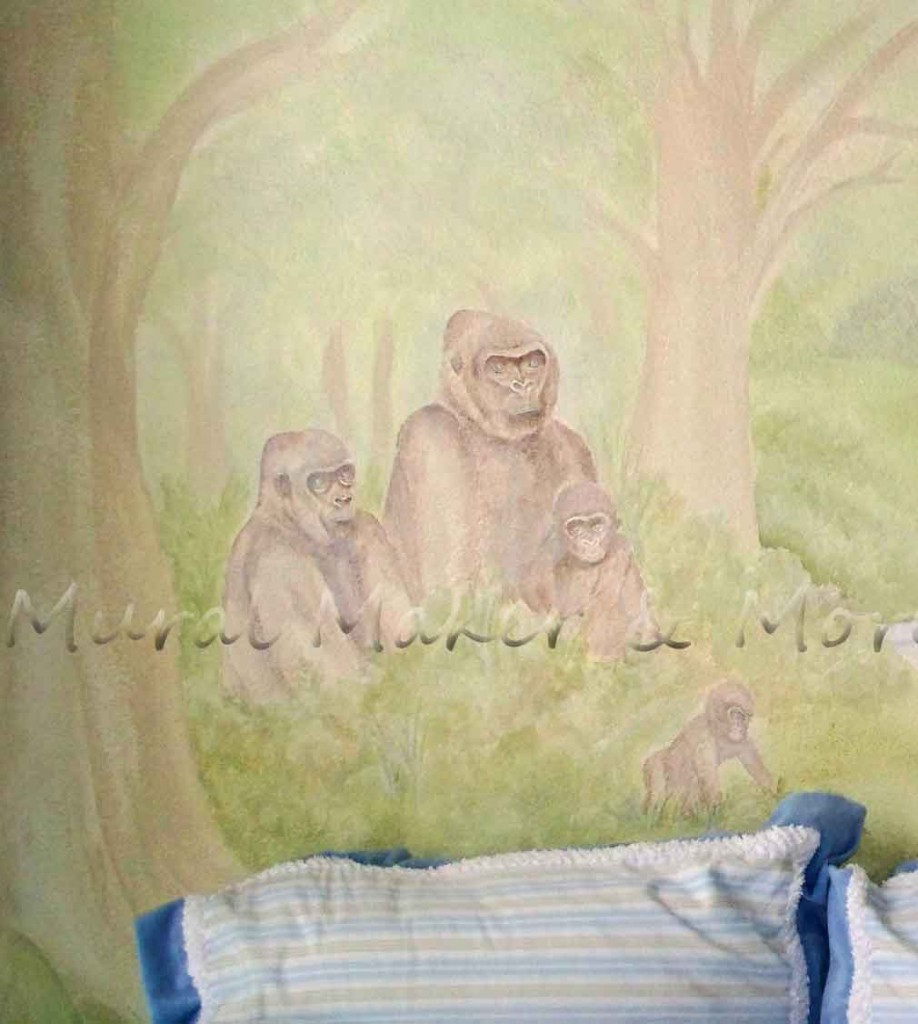 gorilla-mural-in-nursery
