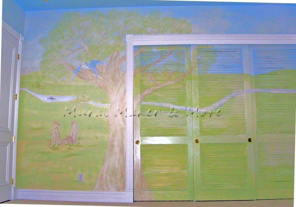 mural on louvered doors