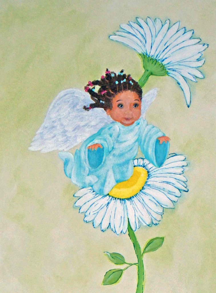 Black Baby Angel Painting