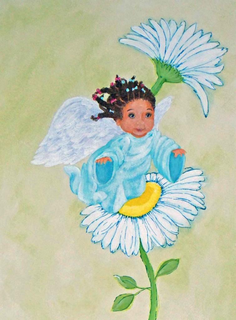 Black Baby Angel Painting
