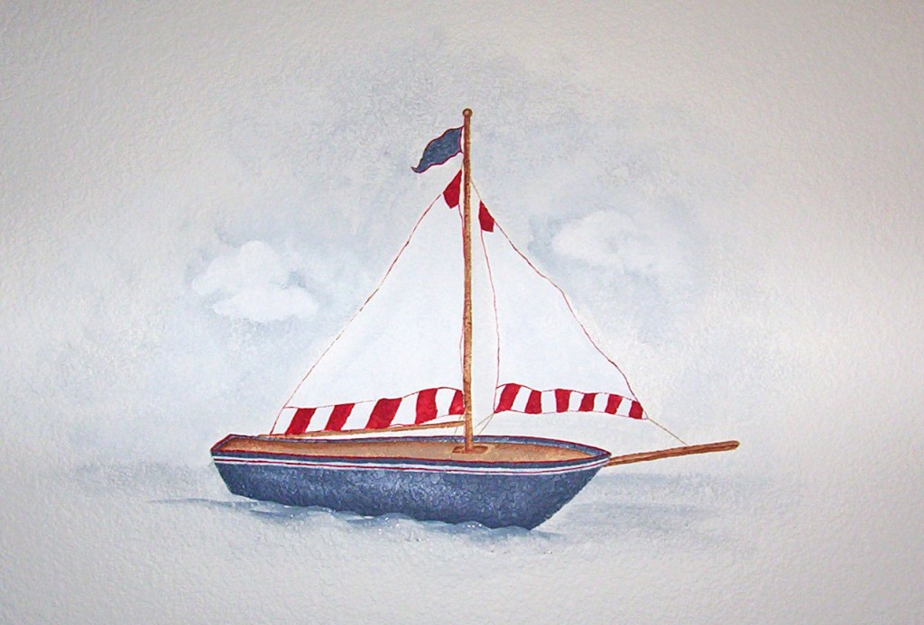 Antique Toy Sailboat Mural