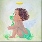 black baby angel in progress