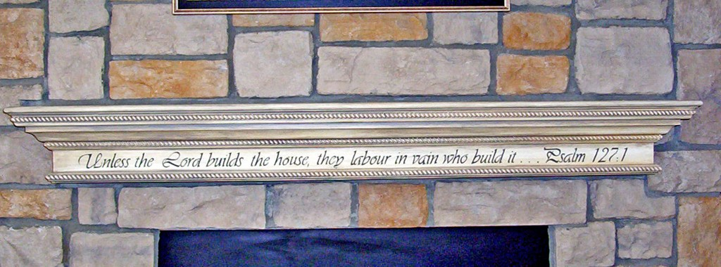 Painted Lettering on Mantel