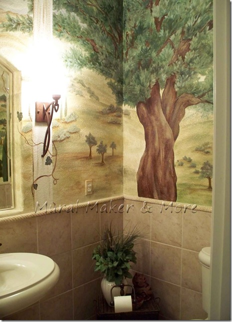 Tuscan Hillside Mural In Powder Room Just Paint It Blog