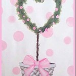 Pink Rose Heart Topiary Painting