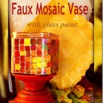 Faux Mosaic Vase with glass paint