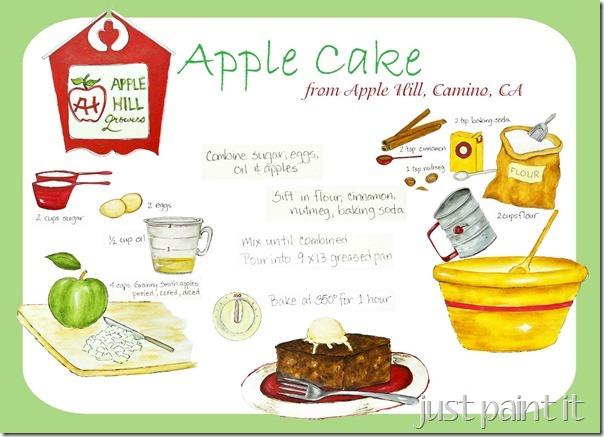 Apple Cake Recipe Illustration Free Printable Just Paint