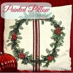 Painted Holly Leaf Dropcloth Pillow