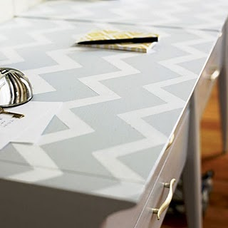 white and grey chevron desk