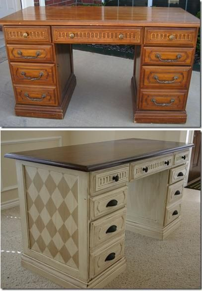 desk with harlequin diamond detail