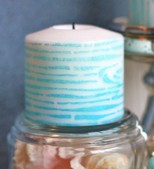 Faux Bois Stenciled Candle