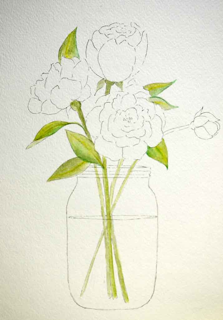 Peony patterns just paint it blog for Simple paintings to draw