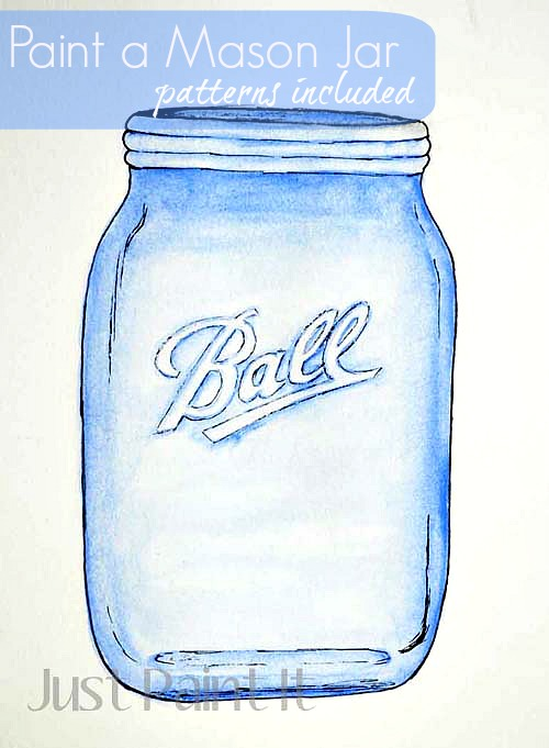 Blue Mason Jar Drawing How to Paint Mason Jar