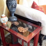 Stenciled Copper Leaf Glass Table