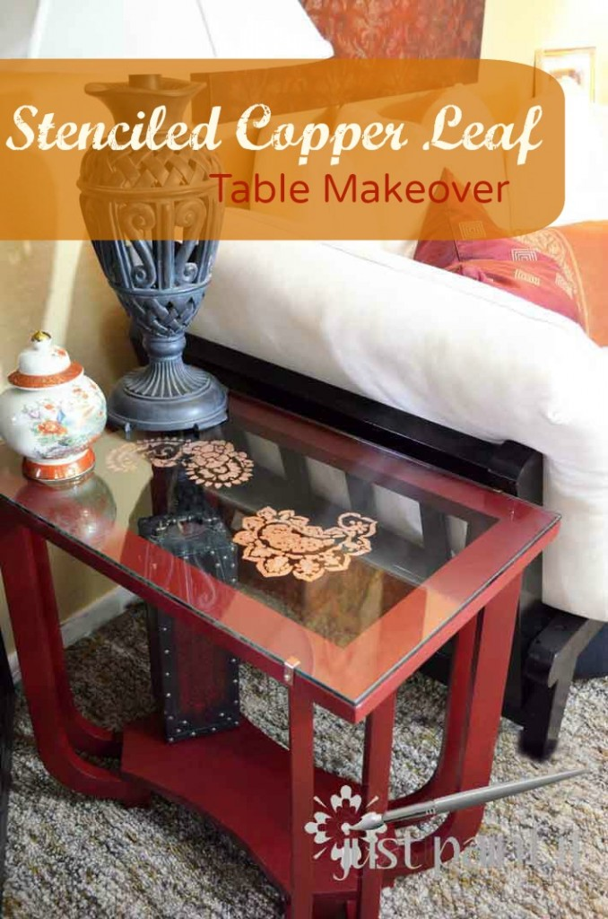 Stenciled Copper Leaf Table