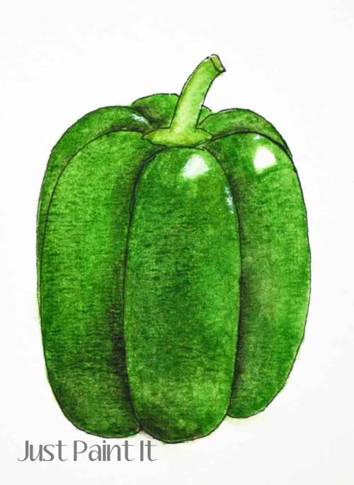 watercolor bell pepper