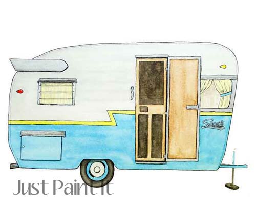 watercolor camper