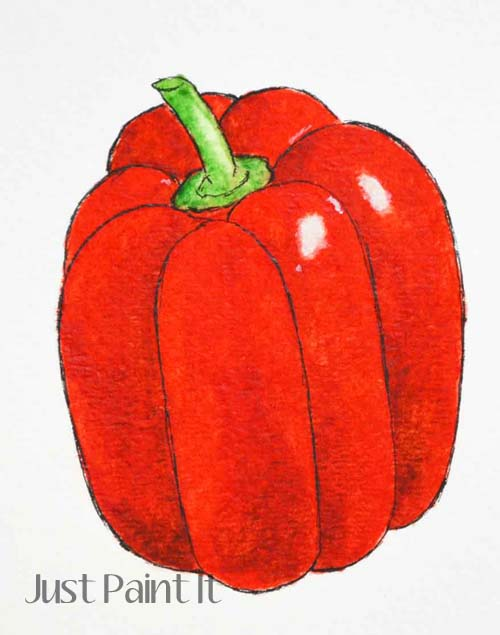 watercolor red pepper