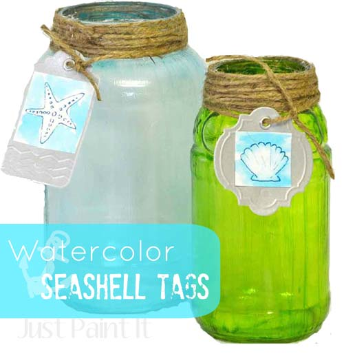 watercolor seashell tags