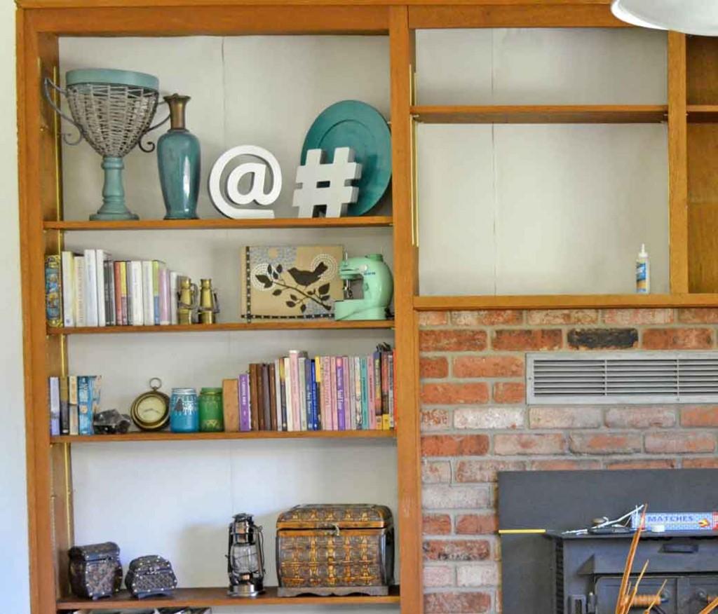 built in bookcase update