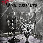 Painted Halloween Goblets – and fingers, and hands, and