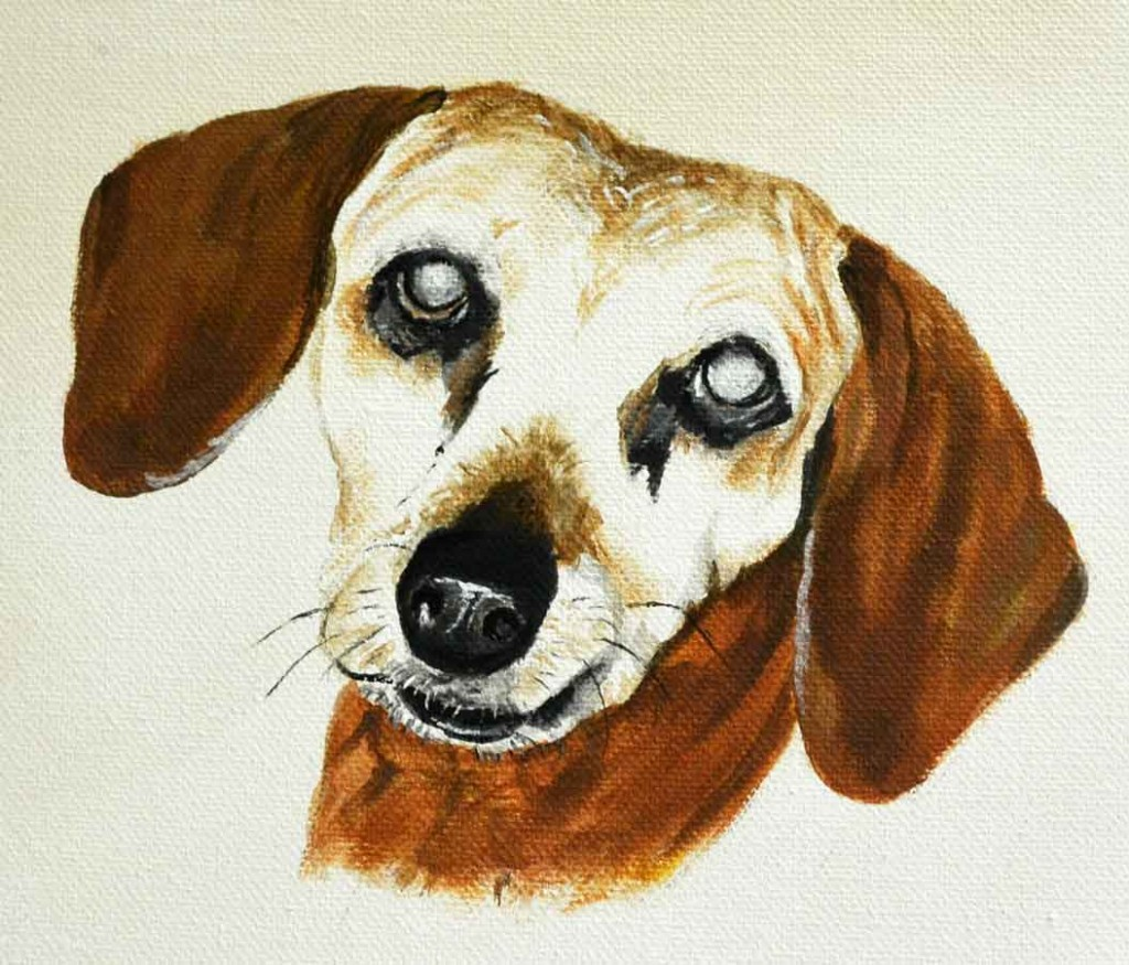 red dachshund painting