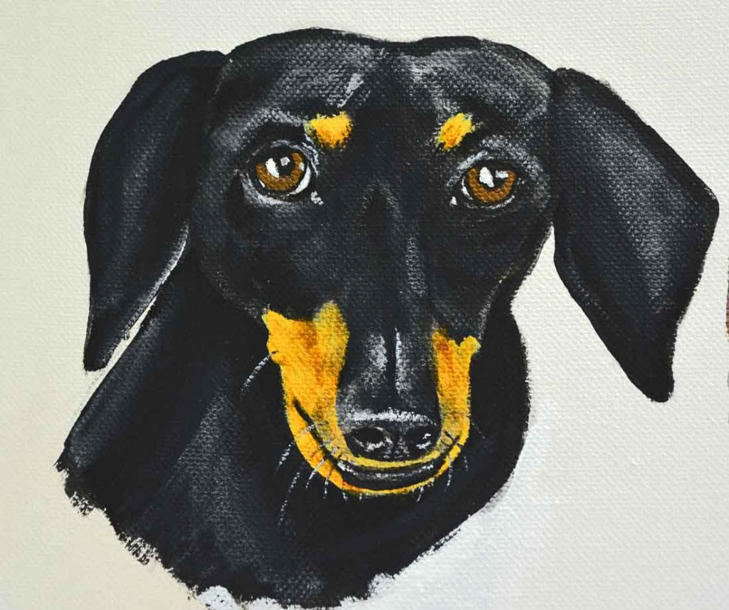black and tan dachshund painting