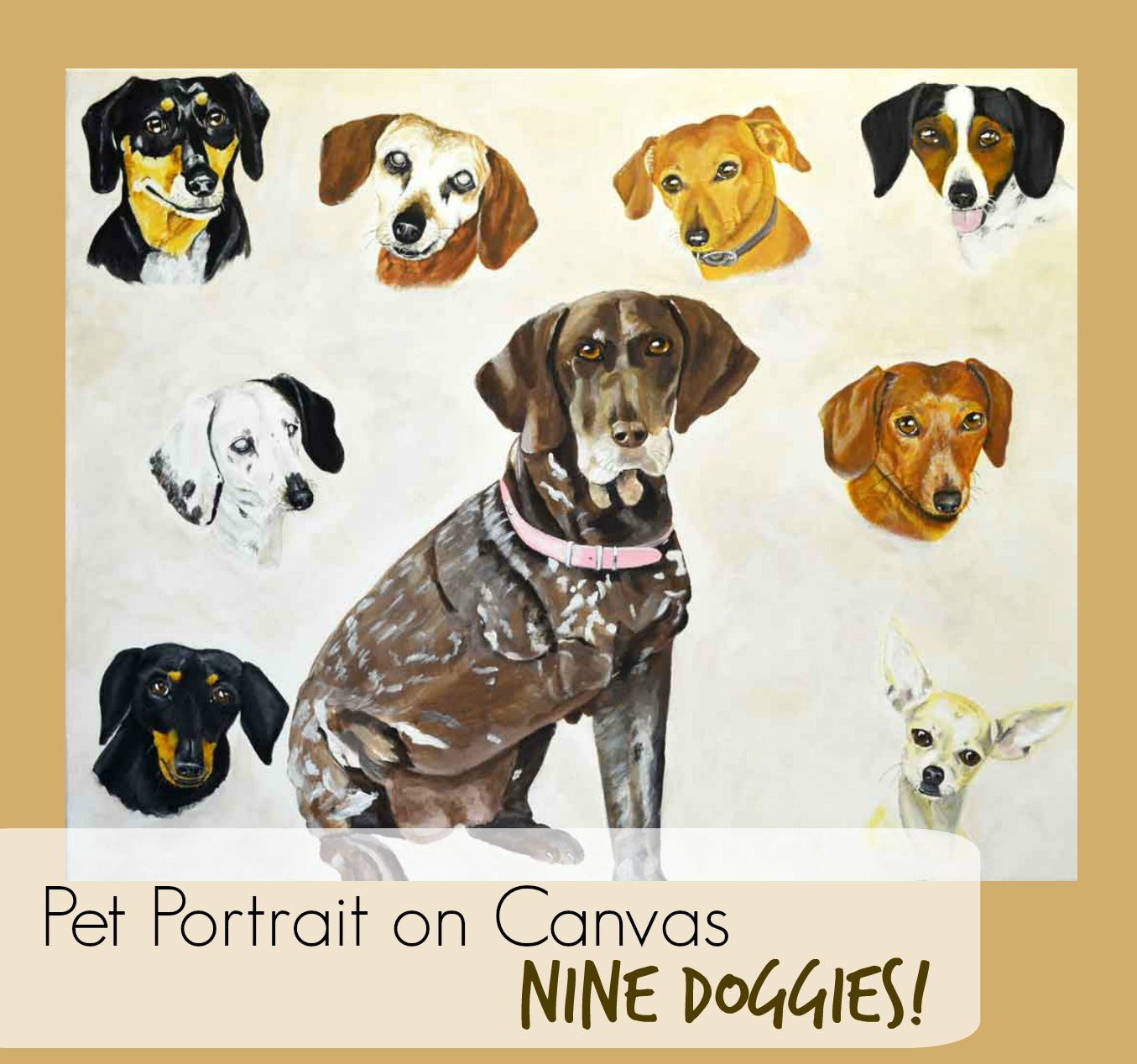Nine Dog Pet Portrait