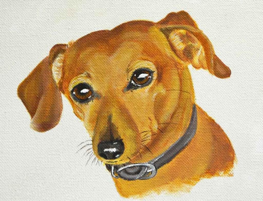 chiweenie painting