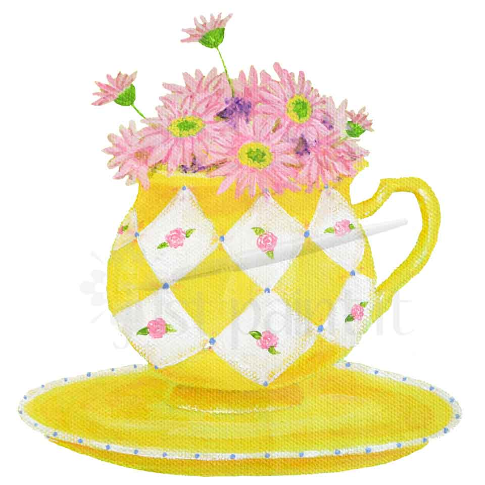 Teacup-and-Daisies art print
