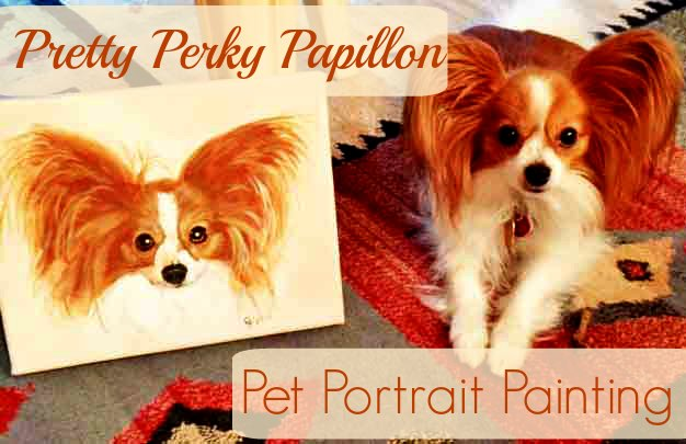 Pretty Perky Papillon Pet Portrait Painting