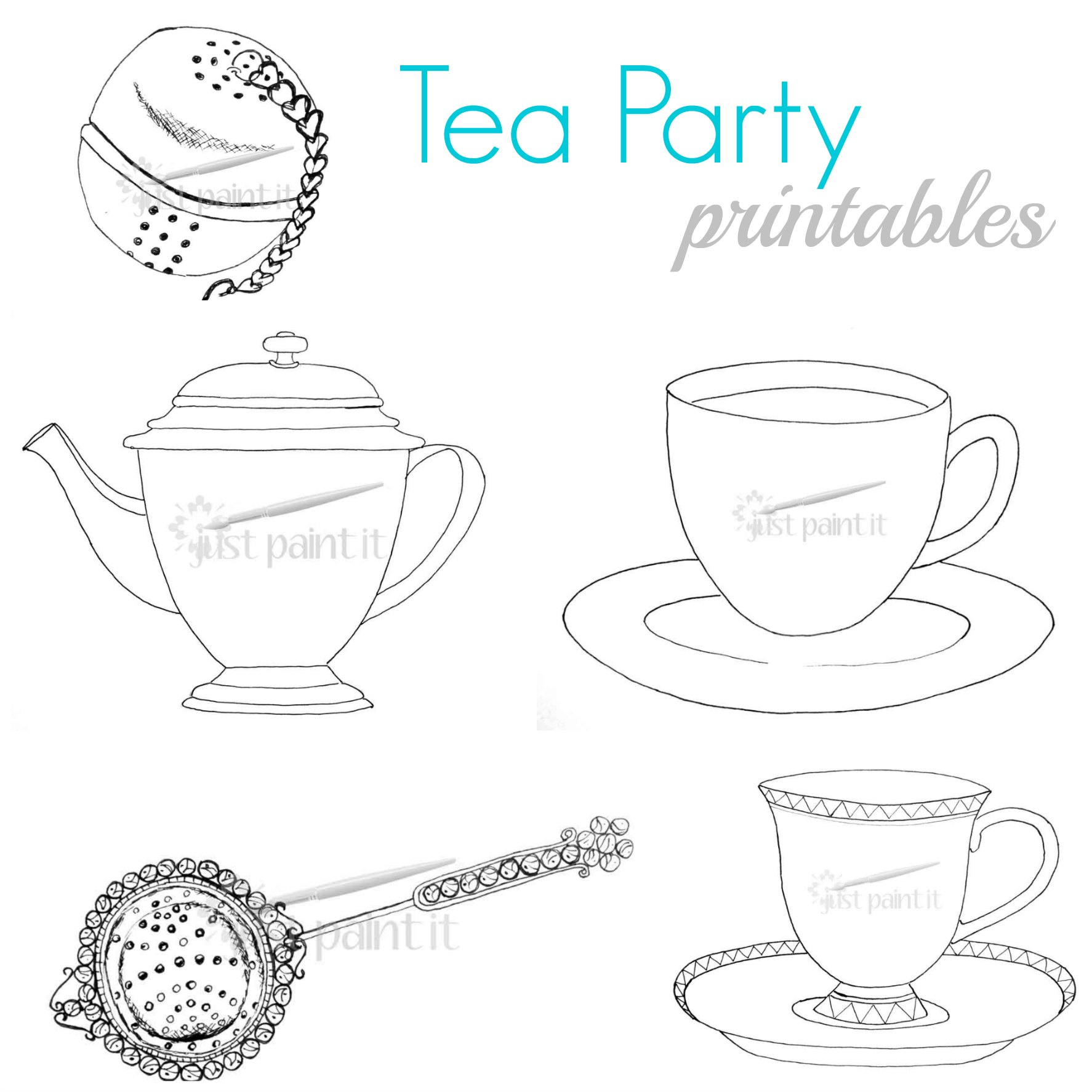 Emejing Tea Party Coloring Book Contemporary New Printable