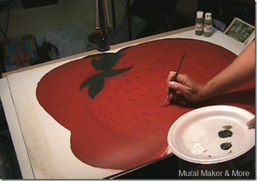 painted strawberry floorcloth