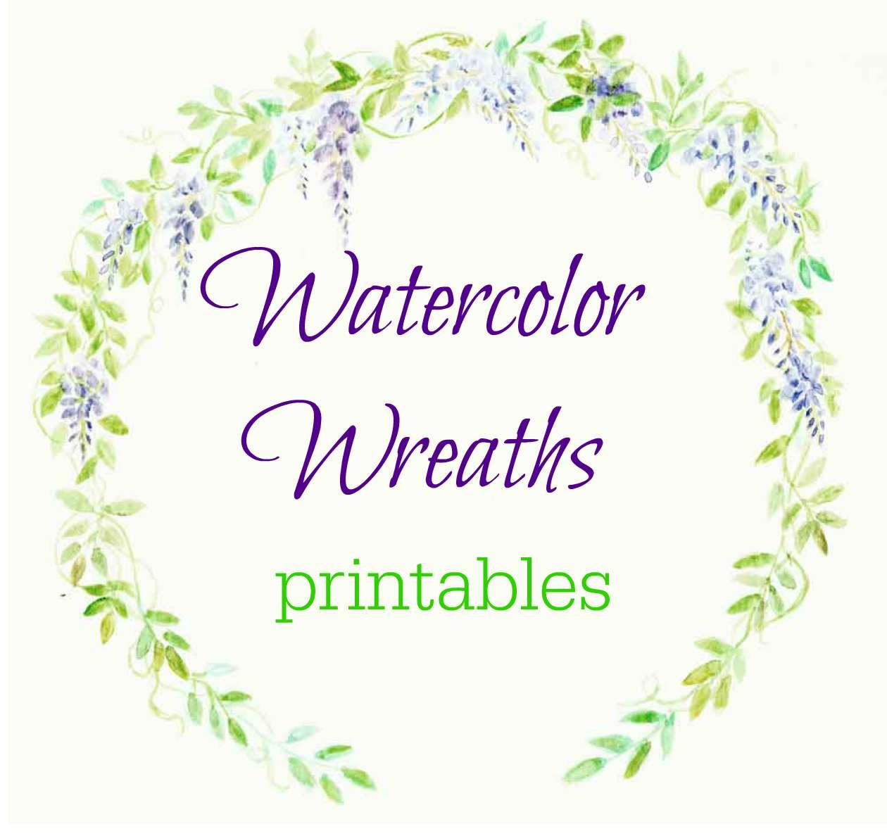 Free Watercolor Wreath Printables