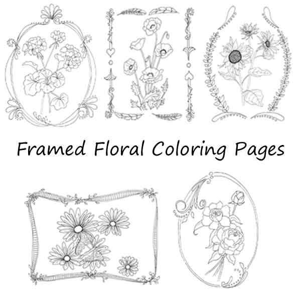 framed-florals-coloring-pages