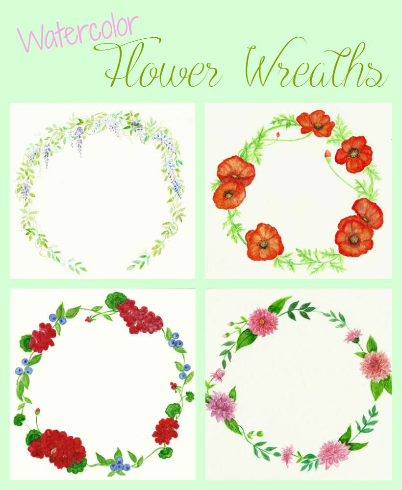 Watercolor Flower Wreaths and Amazing Graphics