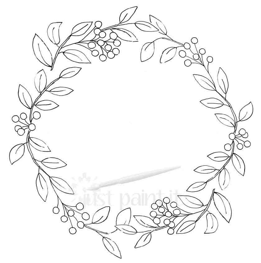 berry-and-leaves-wreath-coloring-page