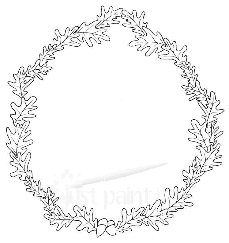 oakleaf-wreath-coloring-page