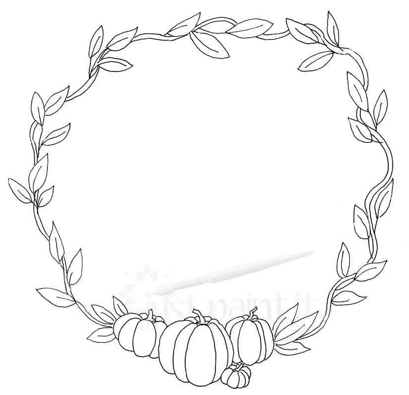 pumpkin-and-leaves-wreath-coloring-page