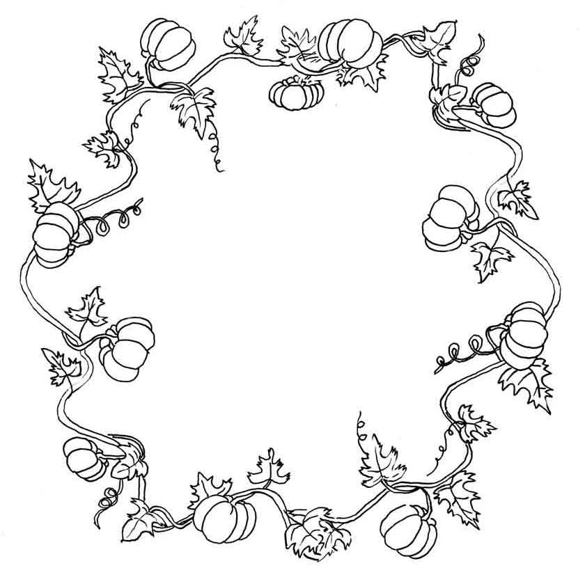 Pumpkin Vine Wreath Coloring Page