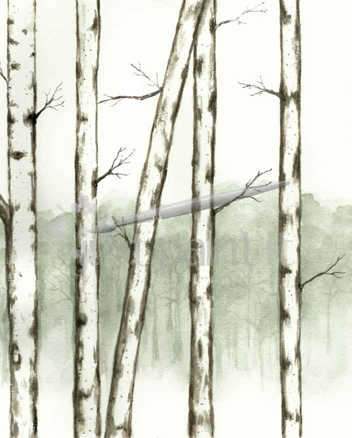 birch-tree watercolor calendar