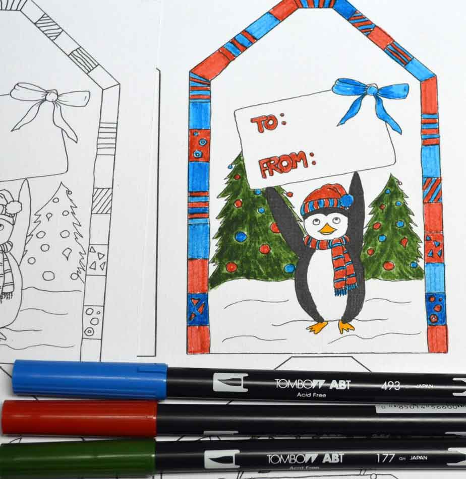 coloring-Christmas-tags