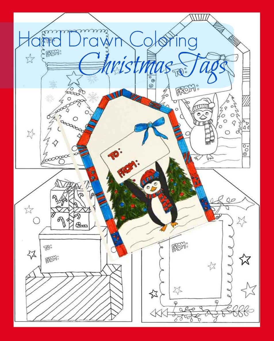 Free Coloring Christmas Gift Tags
