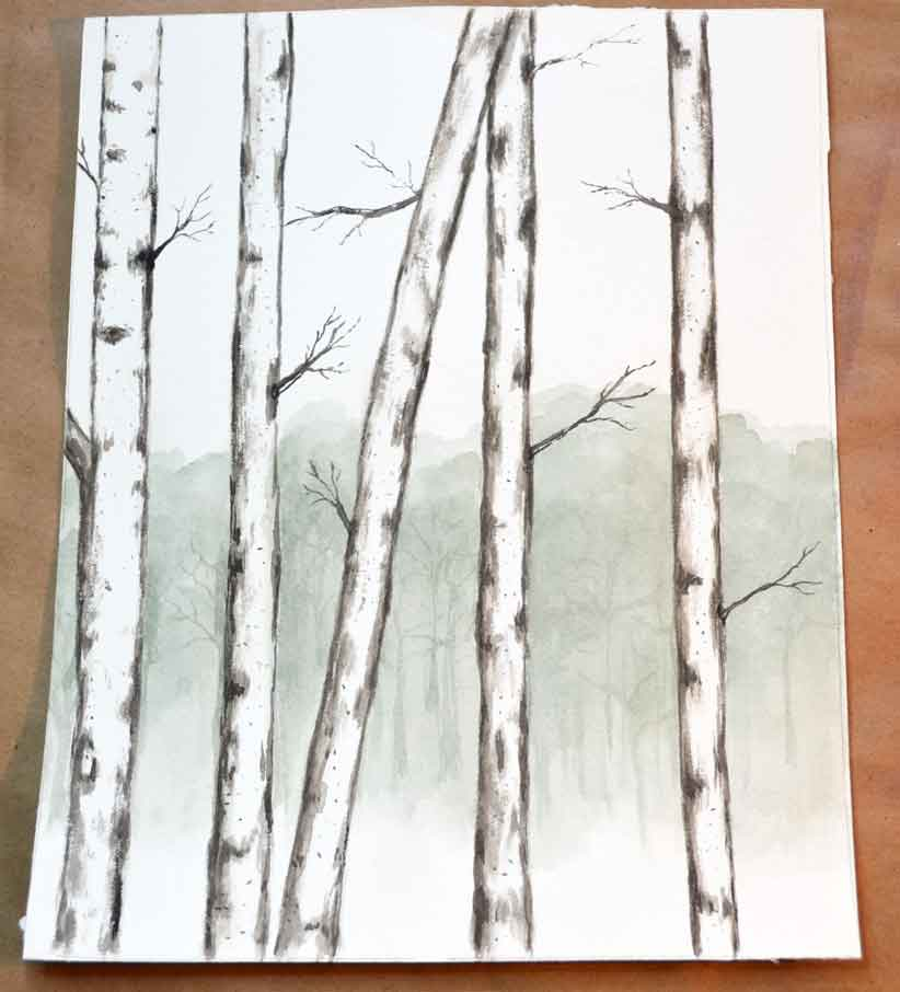 How to simply paint birch trees with watercolors for How to paint a tree