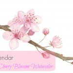 Free Cherry Blossom Watercolor Calendar