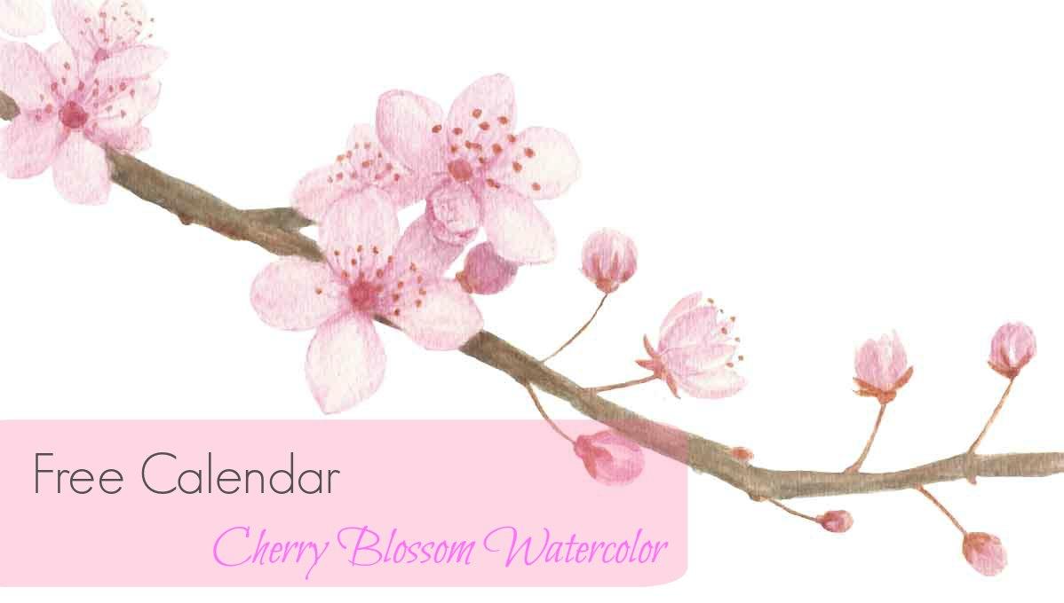 Free Cherry Blossom Watercolor Calendar