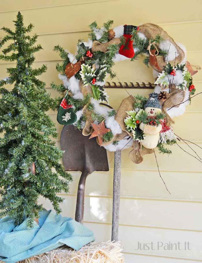 Snowman Xmas Wreath