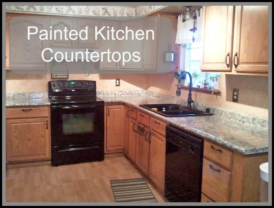 Painted kitchen countertops just paint it blog for Painting kitchen countertops before and after