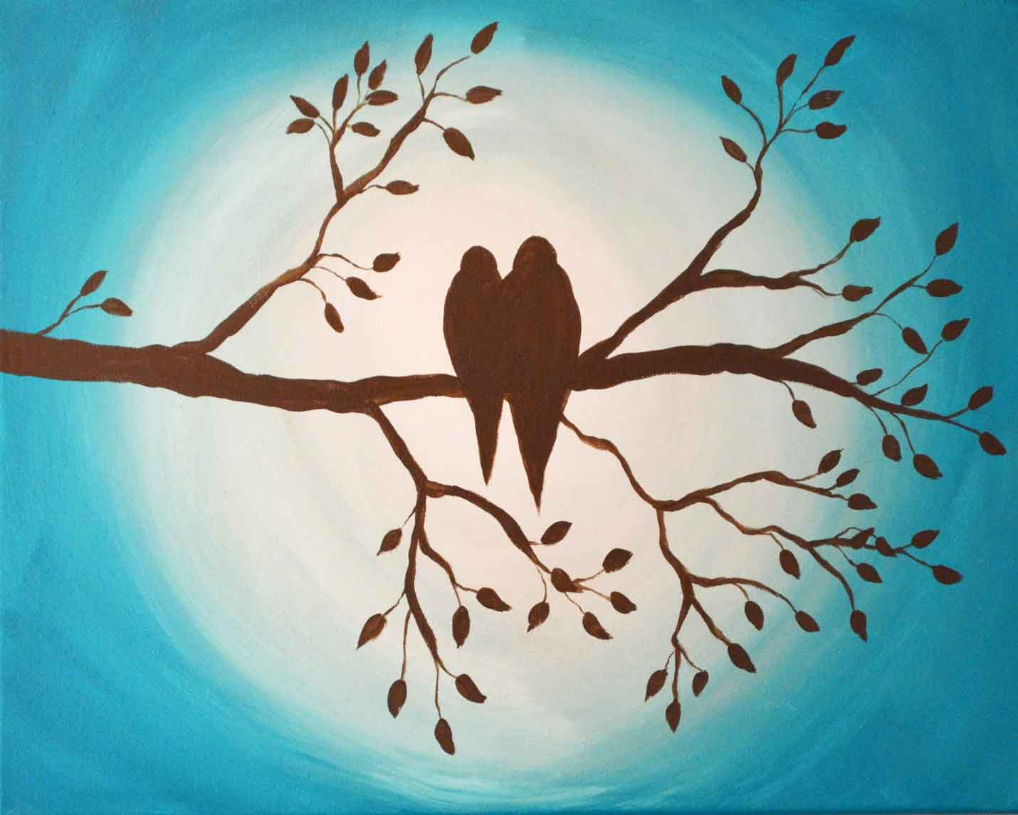Love Birds on Branch Original Painting - Just Paint It Blog